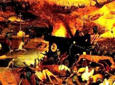 Brueghel: Triumfo de l' morto, kun Mortula Ŝipo (eltiraĵo)