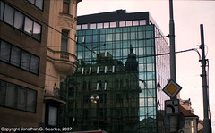 Reflection On Building At The Corner Of Narodni and Spalena, Prague, CZ, 2007