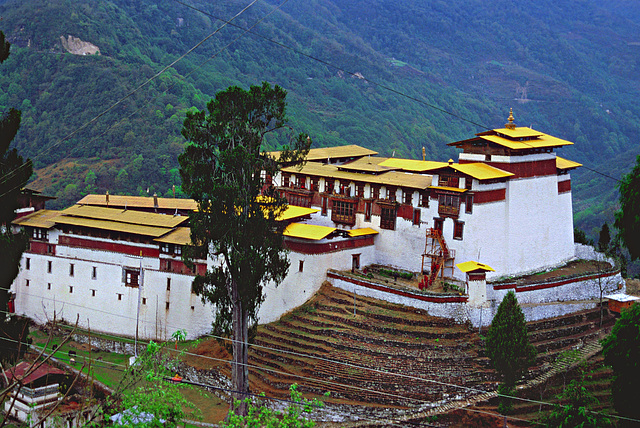 View from Trongsa town to the Trongsa Dzong