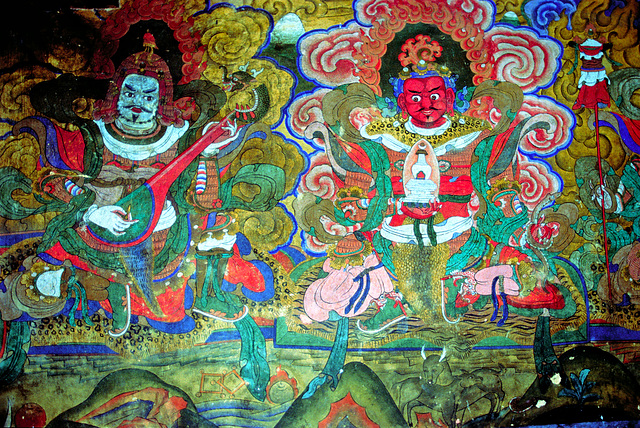 Wallpainting inside the Jampey Lhakhang monastery
