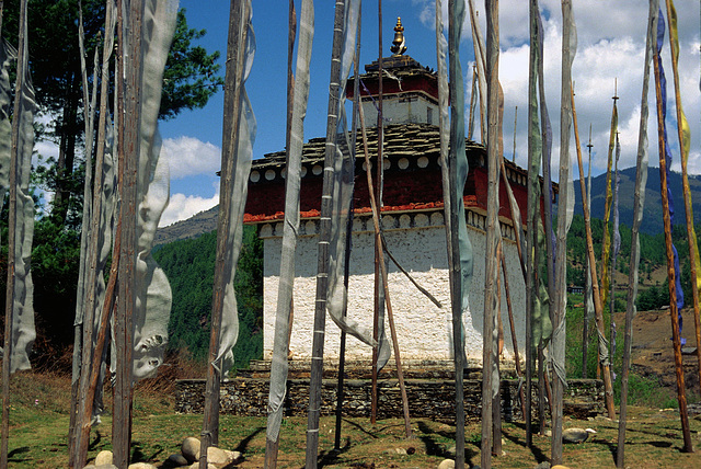 Chorten and a forest of prayer flags