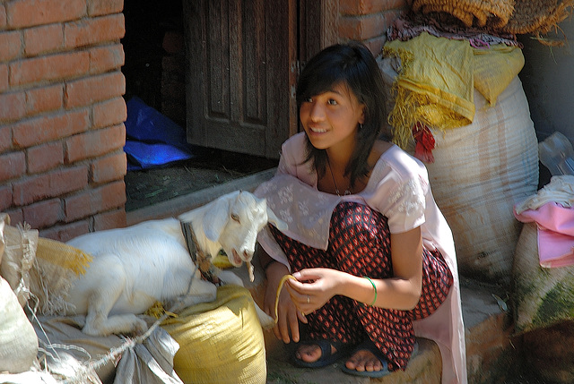 Girl with her goat in Bungmati