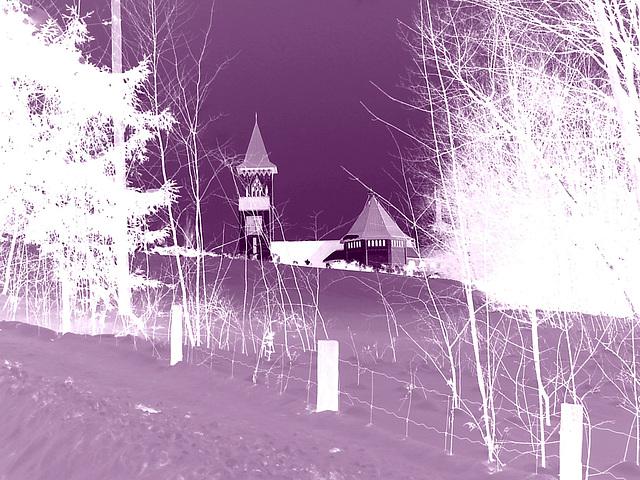 Abbaye St-Benoit-du-lac  / St-Benoit-du-lac  Abbey -  Quebec, CANADA / 6 février 2009 - Effet en négatif violet  /  Negative artwork in purple-  Photofilter.