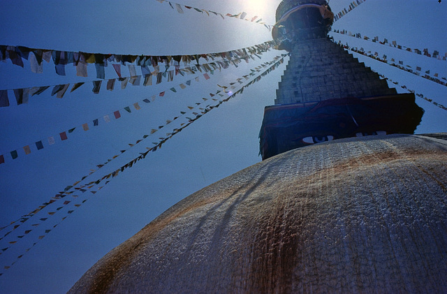 Bodnath stupa in sunlight