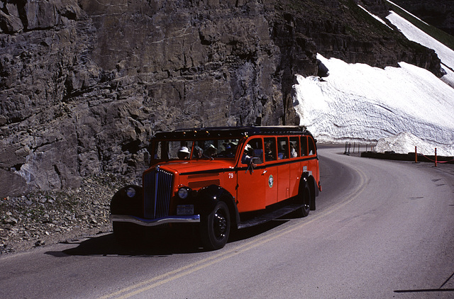"""Old Bus on the """"Going-to-the-Sun Road"""""""