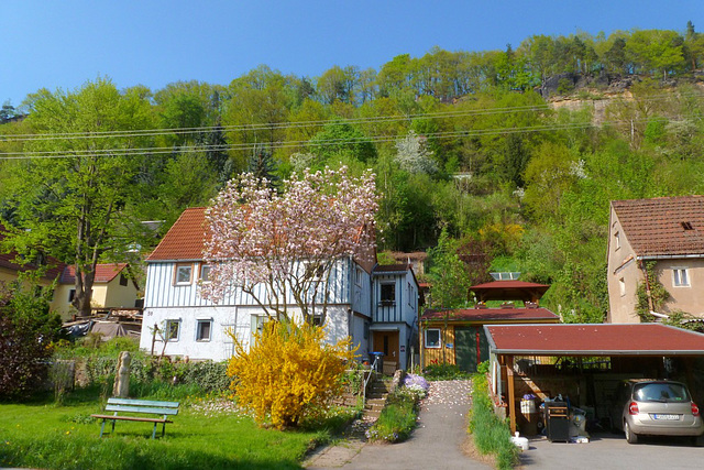 Mein Haus im Frühling - mia domo en la printempo