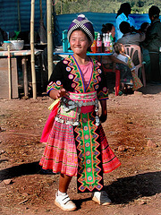 Hmong girl in her traditional cloth