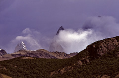 Cerro Torre and Fitz Roy in boiling clouds