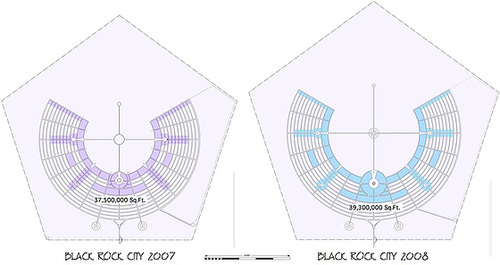 Burning Man 2008 Map Compared to 2007
