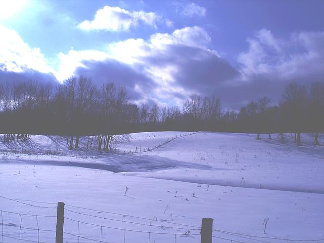 L'hiver à l'abbaye de St-Benoit-du-lac au Québec - Février 2009 -  Effet nuit