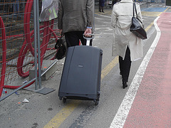 Heras blond mature in extreme hammer heeled boots -  Brussels airport -19-10-2008