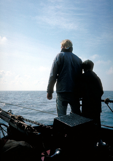 Skipper mit Sohn