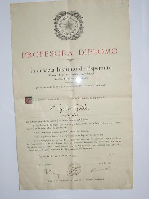 Diplomo de Hector Hodler