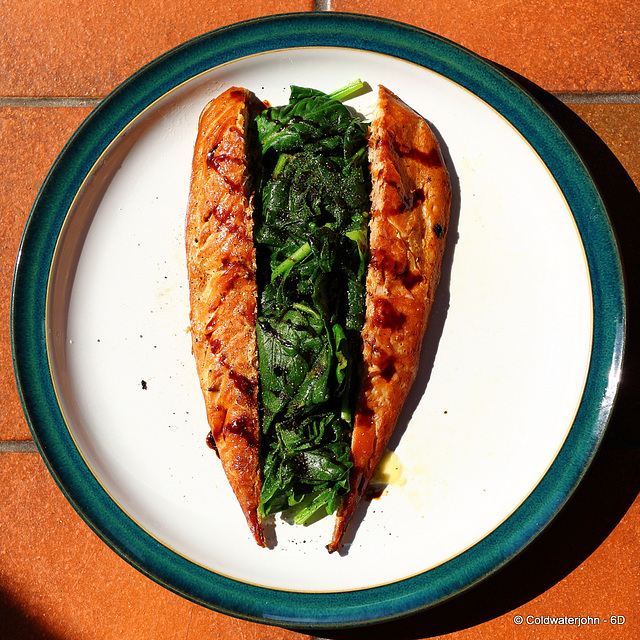 Brain Food: Hot-smoked Mackerel with Blanched Baby Spinach