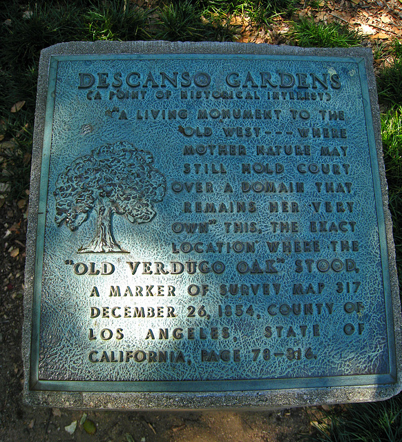 Descanso Gardens Old Verdugo Oak Plaque (2311)