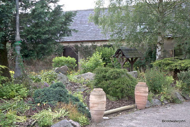 Courtyard garden colours in June