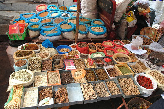 Local spices sold at the market in Xizhou