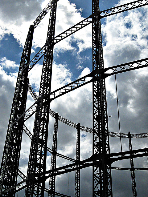 Gasometer and clouds