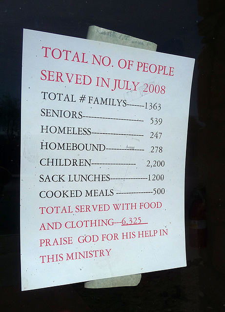 6,325 Served at First Community Baptist Church (0465)