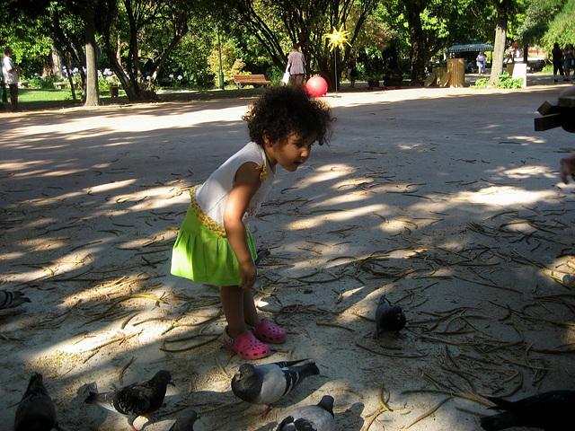 Rafaela, talking to the pigeons