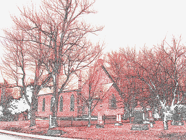 Cimetière et église  / Church and cemetery  -  Ormstown.  Québec, CANADA.  29 mars 2009 - Contours de couleurs / Colourful outlines