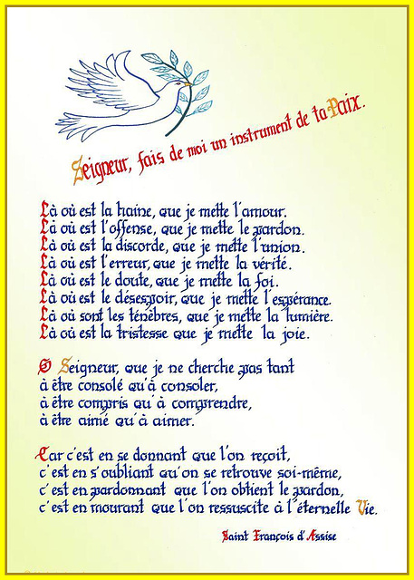 Seigneur, fais de moi..., calligraphie de Sœur Marie