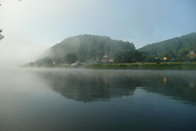 Morgennebel auf der Elbe
