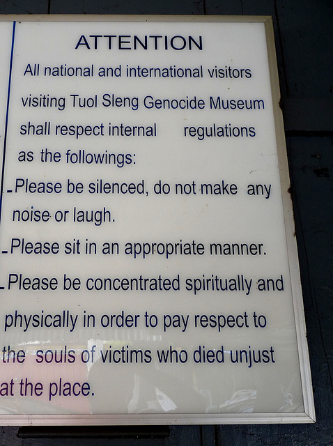 Instructions to Visitors to the Genocide Museum (Originally Tuol Sleng School)