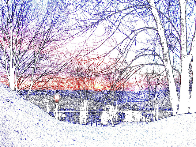 Lever de soleil monastique  / Monastic sunrise-  Création photofiltre - Contours de couleur / Colourful outlines