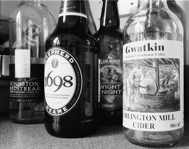 Bank of bottles