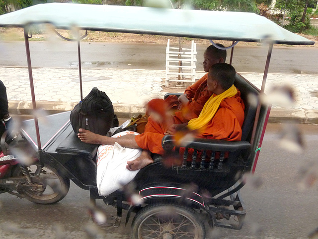 Buddhist Monks in a Tuk Tuk