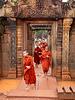 Banteay Srei Gateway- Young Buddhist Monks Emerging