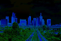 frankfurt skyline -after the big blue attack from outer space in 2013