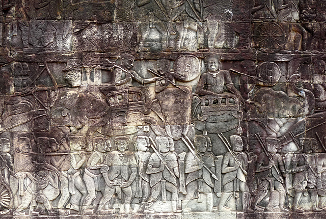 Angkor Thom- Carving of a Battle Scene