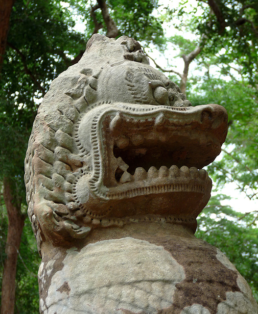 Ta Prohm- Stone Head of a Mythical Creature