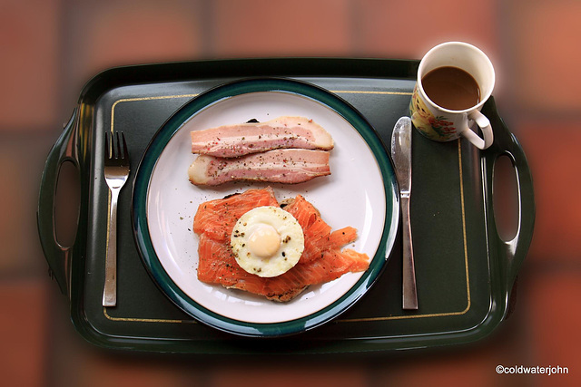 """Austrian """"Speck"""" (Smoked Pork Belly)  and gravadlax for brunch"""