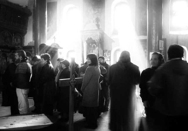 After Divine Liturgy. Light Streaming into Church.