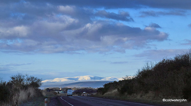 Ben Wyvis, 3,432', in snow from a mile east of Nairn