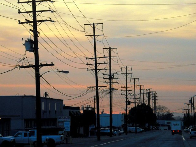 Covina power lines at sunset