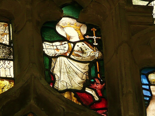 wilby church, st.margaret in c15 glass