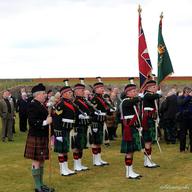 Black Watch Colours Party at attention