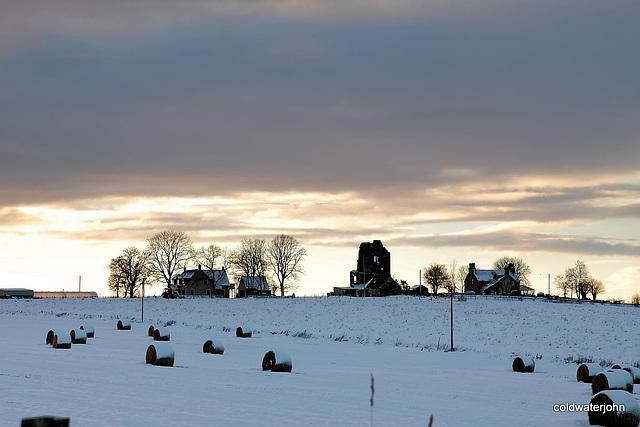 Blervie Castle ruins at sunset
