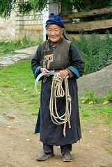 Tibetan woman in a village near Zhongdian