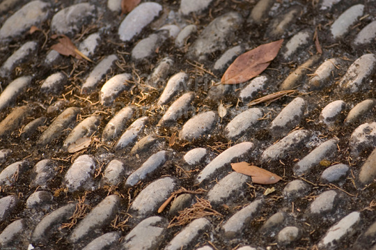 old cobbles on the ground