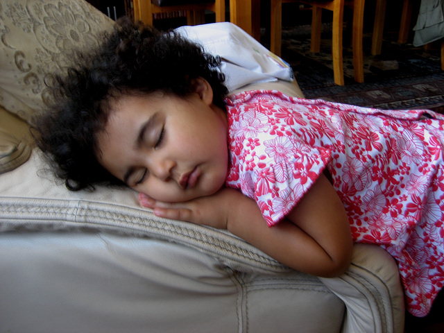 Rafaela, the Sleeping Beauty on the armchair's arm