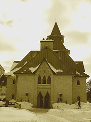 St-Benoit-du-lac celebrated abbey in Quebec, CANADA - sepia