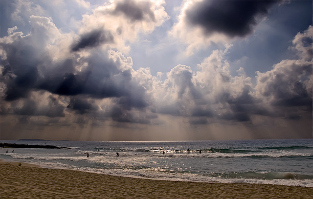 A cloudy day on the beach