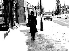 Black arrow Booted Lady-Charcoal artwork-Lachute-Quebec, Canada.