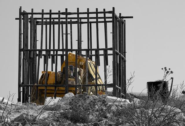 Imprisoned construction machine......
