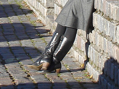 Swedish gorgeous Smoker in hammer heeled boots and dress